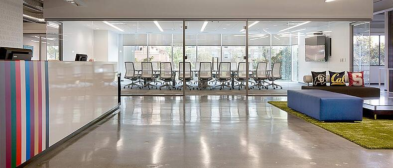 Pac-12 Network Agile Office featuring custom furniture and flexible workspace by Unisource Solutions