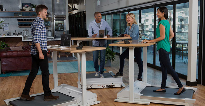 Unsit Walk-1 treadmill for stand-up desk and Desk-1 adjustable height desk.